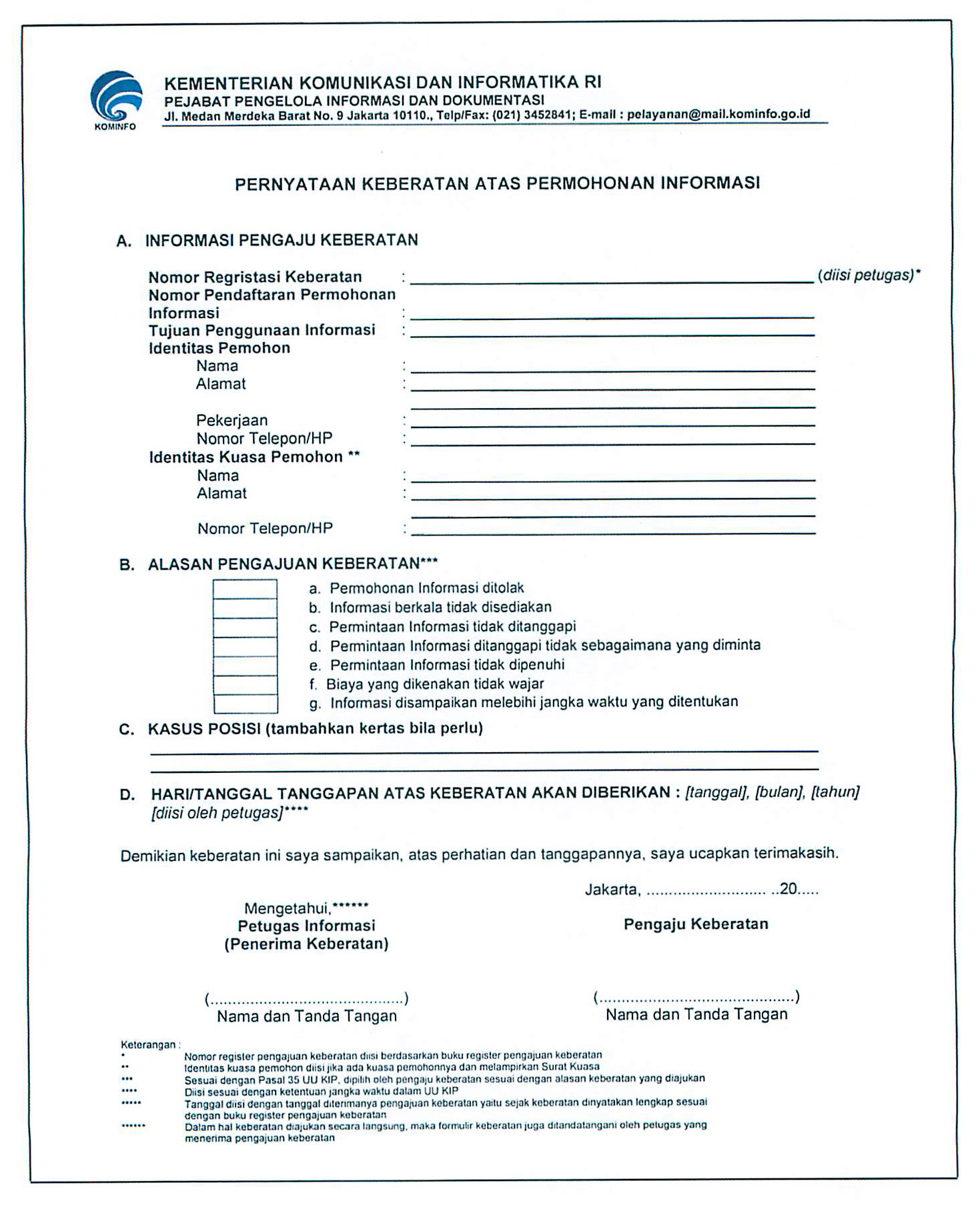 Form Keberatan Ppid Kemkominfo