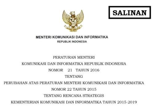 pm kominfo no.1 tahun 2016
